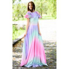 rochie lungă de seară, print curcubeu, cloș, material elastic Waist Skirt, High Waisted Skirt, Formal Wear, Gowns, Skirts, Dresses, Fashion, Vestidos, Vestidos