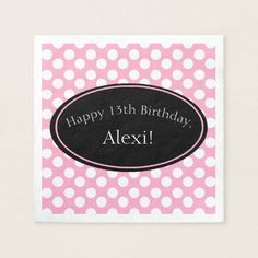 Personalized Pink and White Polka Dot Paper Napkin