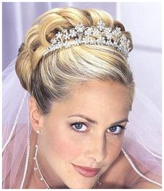 wedding hairstyles for long hair with tiara and veil - Google Search