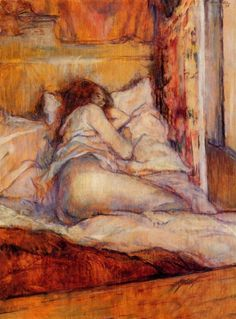 by Henri Toulouse-Lautrec, 1898 http://snowce.tumblr.com/post/12720428949/henri-de-toulouse-lautrec-the-bed-1898
