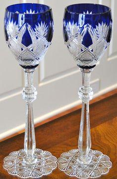 2 Faberge Czar Wine Glasses Goblets Cobalt Blue Cased Cut to Clear Crystal | eBay