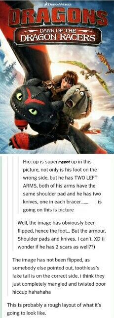 lol they had a messed up picture of hiccup and toothless on the httyd website at one point, too