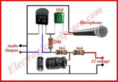 This is a symple microphone circuit diagram. we need this circuit diagram in every where in the electrinics. without microphone we can't think electronics. Hobby Electronics, Electronics Components, Electronics Projects, Electronics Gadgets, Electronic Circuit Design, Electronic Engineering, Electrical Circuit Diagram, Circuit Board Design, Diy Amplifier