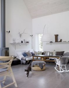 Classic Scandinavian Interior for Living Room: Scandinavian Living Room Design Ideas With Traditional Minimalist Design With Concrete Tile Flooring And White Wall Decor ~ CELUCH Living Room Inspiration Home Living Room, Living Room Designs, Living Room Decor, Decor Room, Living Spaces, Home Decor, Scandinavian Interior Design, Scandinavian Home, Swedish Design