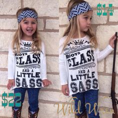 """Good grief our girl is rocking this look! A sassy 3/4 sleeve high low top featuring the trendy saying """"Boots, Class & A Little Sass!"""" Now your lil seniorita can look just like you!   XS (4-5) S (6-7) M (8-9) Large (10-12)"""