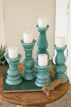 Set of 5 Aqua Ceramic Candle Holders