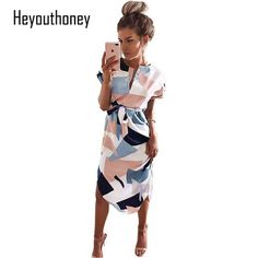Deals $10.13, Buy Elegant Women Summer Dress V Neck Beach Tunic Long Dresses Geometric Color Block Print Sexy Plus size Bohemian Sashes Vestidos