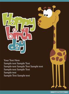 Free Cartoon Happy Birthday Postcard Vector 02 Download Signs Cakes