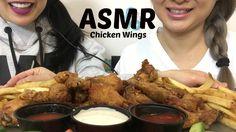 ASMR SWEET THAI CHILI and KOREAN SWEET HONEY BBQ WINGS + FRIES (EATING S...