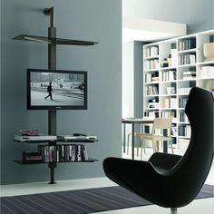 Porta TV orientabile Kino con mensole in cristallo a parete.
