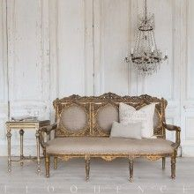 Eloquence® Deep Gilt Dusty Grey Vintage Settee: 1940