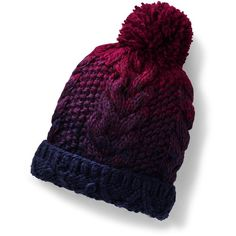 Lands' End Women's Ombre Knit Beanie (€30) ❤ liked on Polyvore featuring accessories, hats, blue, graduation hat, knit hat, pom pom beanie, blue beanie and pom pom beanie hat