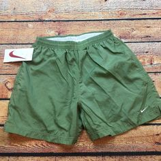 90s VTG NWT NIKE NYLON Shorts SWOOSH OG Running M UnLined High Cut GLANZ Mint #Nike #Athletic