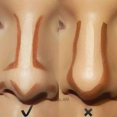 Best Ideas For Makeup Tutorials : Pele – Contorno de nariz … Makeup Tips Contouring, Nose Contouring, Makeup 101, Contour Makeup, Eyebrow Makeup, Skin Makeup, Makeup Inspo, Makeup Inspiration, Makeup Looks