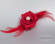 Bridal Hair Piece red rose flower hair comb feathers by GlamFloral