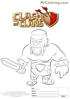 Clash Of Clans P E K K A 1 Coloring Page Clash Of