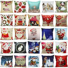 Christmas Santa Claus Cushion Cover Waist Throw Pillow Case Xmas Sofa Decor Gift