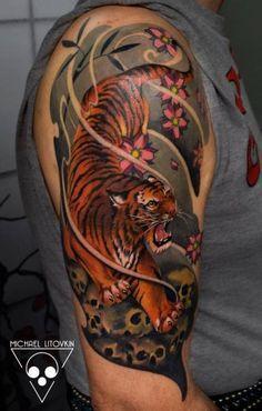 Schulter Japanische Tiger Tattoo von Michael Litovkin
