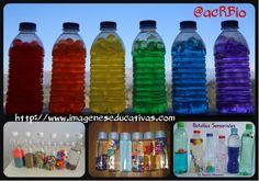 Botellas sensoriales Collage Crafts For Kids, Arts And Crafts, Little Babies, Art Supplies, Barn, Bottle, Ideas Para, English, Science