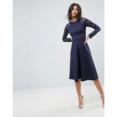 ASOS Premium Midi Scuba Skater Dress with Lace Sleeves (1.455 RUB) ❤ liked on Polyvore featuring dresses, navy, long sleeve fit and flare dress, navy midi dress, long sleeve skater dress, long sleeve dress and long sleeve midi dress