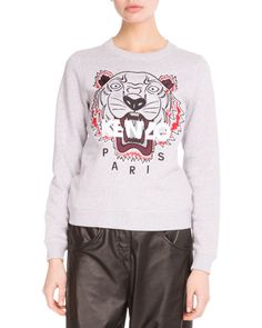 KENZO Light Brushed Cotton Tiger Sweatshirt, Light Gray, Light Grey. #kenzo #cloth #