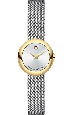 Movado Dot - Women's Movado Dot watch, deep 20 mm gold-plated stainless steel case, silver-toned sunray Museum dial with yellow gold-toned dot and hands, stainless steel mesh link bracelet with belt buckle closure and push-button deployment clasp, sapphire crystal, Swiss quartz movement, water resistant to 30 meters.
