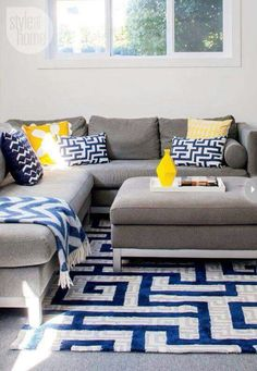 Blue, Gray And Yellow Colour Palette, Gray Yellow Decor Design