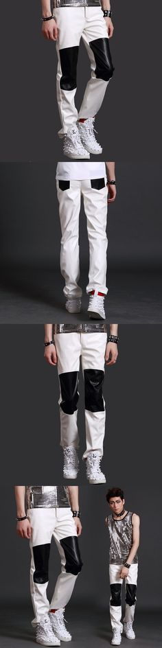 Nightclub Male Singer hip-hop Personality ds Leather Pants Punk DJ  Club show Stage Trousers costumes dance wear