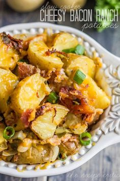 Slow Cooker Cheesy Bacon Ranch Potatoes at https://therecipecritic.com  These are so incredibly tender and packed with delicious flavor and bacon that you will want them for every side!