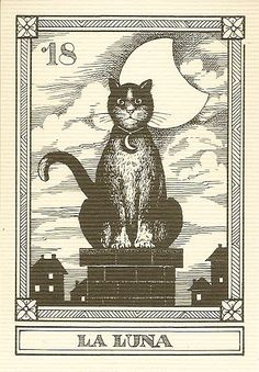 Moon Tarot card - cat