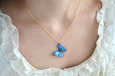 necklace /blue butterfly /小さな森に住む蝶のネックレス(ブルー) by La Ronde Des Fees
