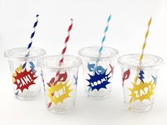 Superhero Cups - Superhero Party Cups - Hero Birthday Party Supplies - Superhero Favors - Hero Favors - Comic Book Birthday Party Favor Cups by SteshaParty on Etsy https://www.etsy.com/listing/572015536/superhero-cups-superhero-party-cups-hero