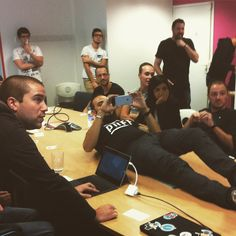 Some meetings are weirder than others. #PrestaShopHQ #meeting #humanstand by prestacrew