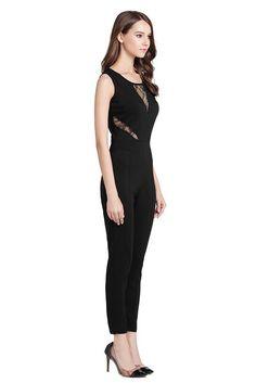 SUNNOW® Elegant Damen Jumpsuit mit Spitze Lang Hosen Rundhals Ausschnitt Ärmellos Frauen Overall Party Abendmode (38-40, Schwarz)