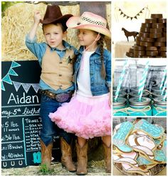 Vintage Cowboy and Cowgirl Party with Lots of REALLY CUTE IDEAS via Kara's Party Ideas KarasPartyIdeas.com #WesternParty #CowboyParty #CowgirlParty #TwinsParty