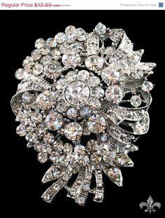 ON SALE Rhinestone Brooch Pin  Rhinestone Crystal by SupplyWorld, $11.66