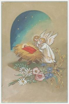 private swap with Mindee Vintage Christmas Cards, Retro Christmas, Vintage Holiday, Xmas Cards, Christmas Nativity, Christmas Angels, Christmas Greetings, Kids Christmas, Nativity Painting