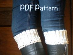 PATTERN Boot Cuffs easy crochet P D F email cream by swellamy, $4.99