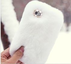 Luxury White Rex Rabbit Fur Fluffy Diamond Crystal Case Cover for iPhone4 4S | eBay