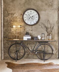 Black Metal and Mango Wood Industrial Bicycle Console Table Bicyclette on Maisons du Monde. Take your pick from our furniture and accessories and be inspired! Industrial Interior Design, Industrial House, Industrial Interiors, Industrial Style, Home Interior, Bicycle Decor, Deco Design, Home Furnishings, Home Furniture