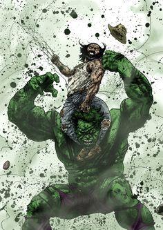 Wolverine vs Hulk by Guiu Vilanova