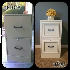 Use picture frames to put on file cabinet drawers. Looks so nice.