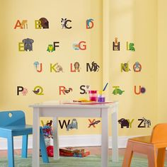 Animals Alphabetized Wall Decals in Alphabet & Numbers Wall Art | The Land of Nod