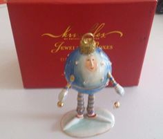 KKRINKLES Dept 56 JEWELED BOXES Blue Ornament PATIENCE BREWSTER Pre-Owned | #1788403433