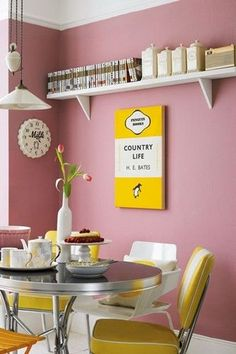 pink kitchen, tiles, paint, yellow, shabby chic, retro, vintage