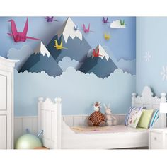 A favourite here at ohpopsi, turn your little one's room in to an incredible scenic masterpiece with this Origami Mountains wall mural. Kids Wall Decor, Baby Room Decor, Bedroom Decor, Bedroom Ideas, Kids Bedroom Paint, 70s Bedroom, Jungle Bedroom, Childs Bedroom, White Bedroom