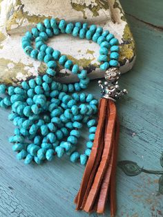 Totally FUN, totally GLAM Southwest style hand knot faceted turquoise gemstone beaded necklace will easily accessorize all your casual clothes!!!