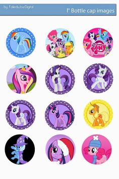 "Folie du Jour Bottle Cap Images: My Little Pony free digital bottle cap images 1"" 1inch"