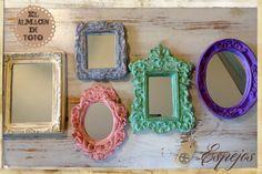 set de 3 espejos simil antiguos marco de yeso patinado