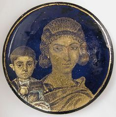 Roman gold glass medallion with a mother and child, early 4th century A.D. Made…